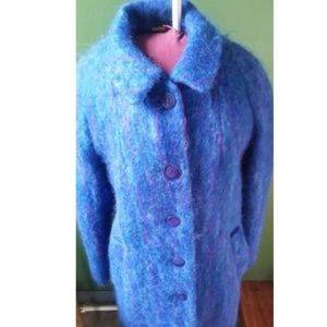 Vintage BLUE Striped Fuzzy Swing / Glam Coat
